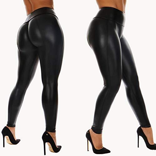 KDYZJK Leren Yoga Leggings Push Up Tight Broek Gym Fitness Broek Zwart Elastische Yoga Broek Vrouwen Sport Draag Hoge Taille