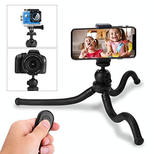 Trípode para móvil, HOVNEE-BL-01 Trípode Flexible con Control Remoto Bluetooth, Soporte de la cámara y del móvil.para la mayoría de Las cámaras de teléfonos celulares,la Vida Diaria/Escuela/Viaje