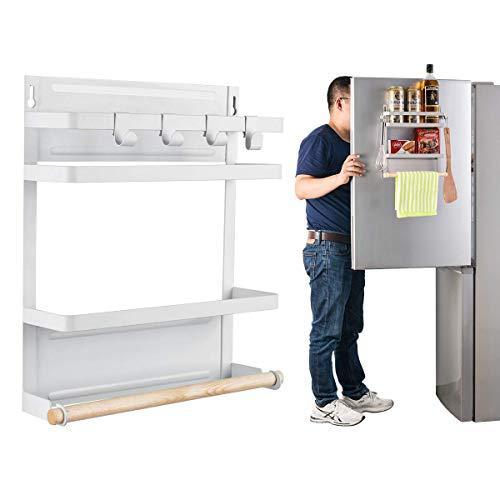 キッチンペーパーホルダー 冷蔵庫サイドラック オーガナイザー収納ラック 強力マグネットタイプ ペーパータオルホルダー & スパイスラック 冷蔵庫 洗濯機に簡単貼り付け ムダなスペースを有効活用 (小さい 32*26*8CM)