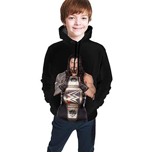 Roman Reigns-3 3D Print Casual Jugend Athletic Pullover Kinder Kapuzen Trainingsanzug Sweatshirt L(14-16)