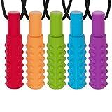 5 Stück Zahnen Halskette für Kind, ANBET Silikon Zahnen Anhänger Sensory Chew Halskette Beißring für Beißlinderung bei Zähnen, Mundmotor, besondere Bedürfnisse, Autismus, Angst