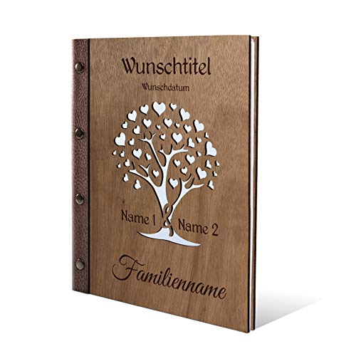 Stammbuch Okoume Holz Gravur individuell Holzcover mit Echtleder Rücken & Extras Stammbuchformat hoch 175 x 220 mm - Herzbaum