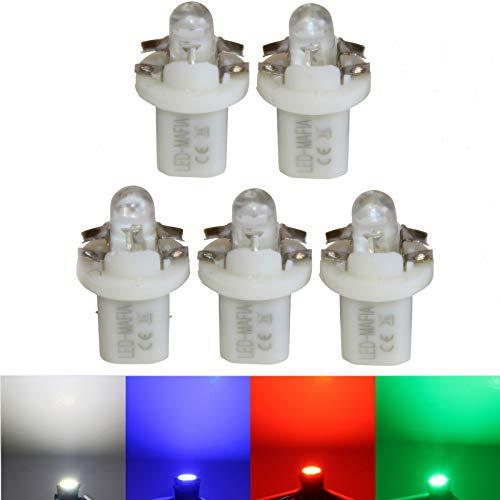 LED-Mafia Lot de 5 éclairages halogènes ronds pour tableau de bord - Blanc bleu rouge - Cockpit a (vert)