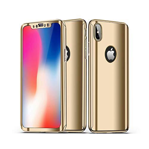 CXvwons iPhone XR Hülle, iPhone XS MAX 3 in 1 Ultra Dünner PC Harte Case 360 Grad Ganzkörper Schützend Handytasche Backcover Anti-Kratzer Schutzhülle für iPhone XS (iPhone XS MAX, Gold)