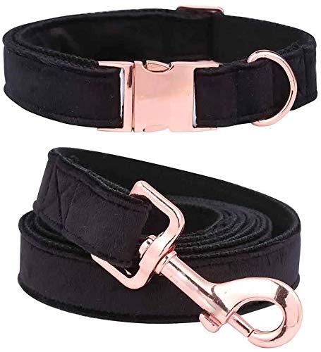 NIUBICLAS Collar de perro y plomo Set Collar de perro de terciopelo y collar de perro de plomo niña niño