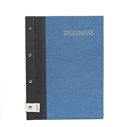 ROTH Zeugnismappe Bicolor mit Buchschrauben - Grey-Denim Blue - mit 12 A4 Klarsichthüllen, erweiterbar