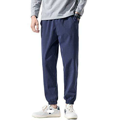 Pantalones Harem Informales para Hombre, Cintura elástica con cordón, Color sólido, Pantalones Largos hasta el Tobillo con cordón de Ajuste Relajado Premium Medium
