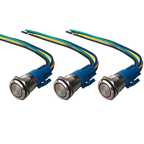 QitinDasen 3Pcs Premium 12V / 24V 5A Interruptor de Botón Momentáneo, 16mm Interruptor de Botón Metálico, LED Rojo Interruptor Pulsador Impermeable IP67 con Enchufe de Cable