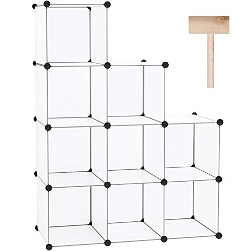 C&AHOME Cube Storage, 9-Cube BookShelf, Plastic Closet Cabinet Organizer, DIY Stackable Bookcase, Modular shelving Units Ideal for Home, Office, Kids Room, 36.6'L x 12.4' W x 48.4' H Translucent White