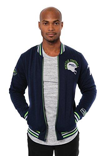 Icer Brands NFL bestickte Fleece-Jacke mit Reißverschluss, für Herren, Seattle Seahawks L/S Zip FRNT Jacket, Navy
