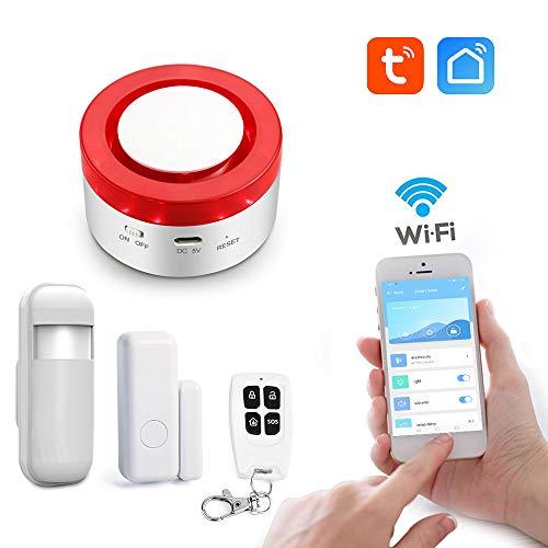 aixi-SHS Wi-Fi 433Mhz Sirena estroboscópica Seguridad Sistema de Alarma Puerta/PIR Sensor de Movimiento Control cronometrado - TuyaSmart/Smart Life App Control