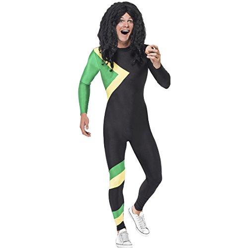 Overall Jamaika Sportlerkostüm - L (52/54) - Jamaikakostüm Bobfahrer Mottoparty Olympia Jumpsuit Jamaikaner 90er Jahre Outfit Cool Runnings Kostüm