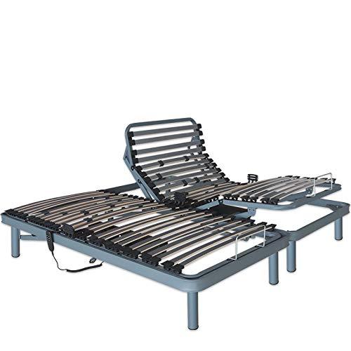 Ventadecolchones - Cama Articulada Reforzada con Motor eléctrico Medida 135 x 190 cm (2 unds 67,5 x 190 cm + unión) con Subida Y Montaje