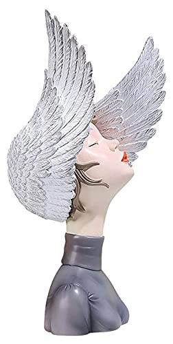 Escultura de escritorio Resina escultura alas forma niña estatua estatua decoración del hogar accesorios arte arte artesanía ornamentos casero oficina decoración estatuillas