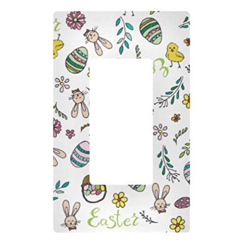 Placa decorativa de pared con interruptor de luz – Cubierta de placa de interruptor de luz Happy Easter Outlets para dormitorio, cocina, decoración del hogar