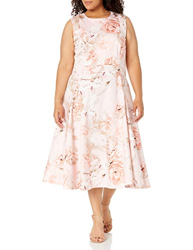 Calvin Klein Women's Plus Size Floral Printed Seamed a Line Dress, Peach