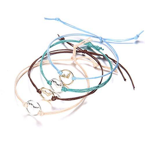 U-M PULABO - Juego de 4 pulseras para mujer, multicolor, hueco, para montaña, para regalo, muy práctico y elegante