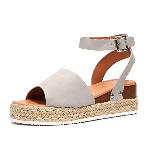 Sandalias Mujer Plataformas Verano Cuña Piel 5 CM Tacon Punta Abierta Plana Tobillo Zapato De Playa Moda Fiesta Marrón 39