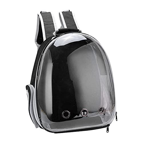 Transportín Transparente Para Mascotas, Mochila Space Capsule Bubble Cat Carrier Transparente Con Cómoda Correa Para El Hombro Para Viajes De Gatos(Versión mejorada negra)