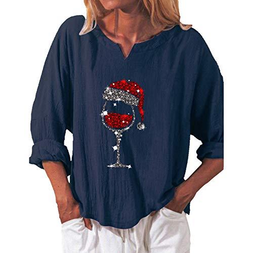 Lazzboy Store Oberteile Frauen Weihnachten Weinglas Lose Langarm V-Ausschnitt T-Shirt...