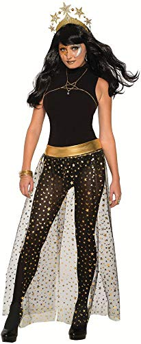 shoperama Galaxie - Falda para disfraz con estrellas y media luna, color negro, dorado y plateado