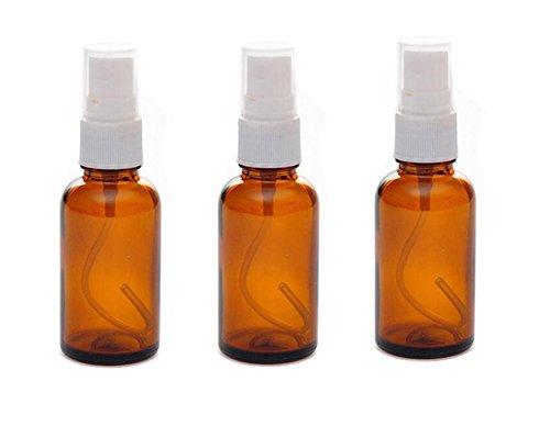 3pcs 30ml Refillable Mist Spray Botellas de cristal con blanco pulverizador–pulverizador atomizador...