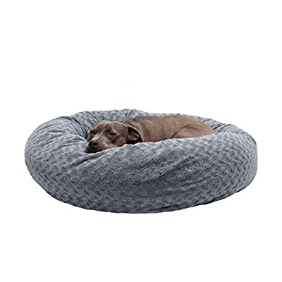 Furhaven Pet Dog Bed | Round Plush Faux Fur Ultra Calming Deep Sleep Cushion Non-Skid Cuddler Donut Pet Bed w/ Removable Cover for Dogs & Cats, Silver Frosting, Large
