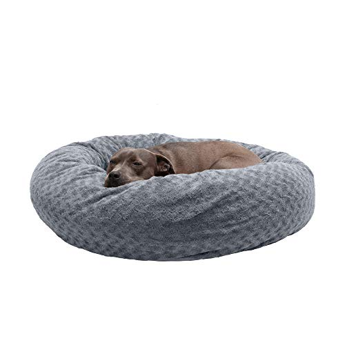 Furhaven Pet Dog Bed - Round Plush Faux Fur Ultra Calming Deep Sleep Cushion Non-Skid Cuddler Donut Pet Bed with Removable Cover for Dogs and Cats, Silver Frosting, Large