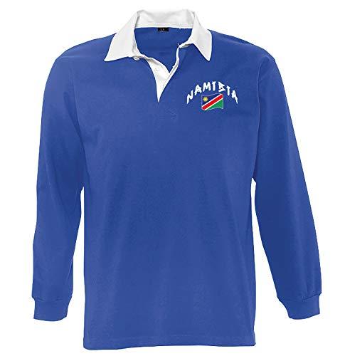 Supportershop Poloshirt Rugby LS Namibia, Unisex S blau