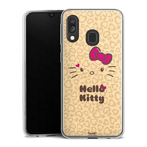 DeinDesign Slim Hülle extra dünn kompatibel mit Samsung Galaxy A40 Silikon Handyhülle transparent Hülle Hello Kitty Leomuster Fanartikel
