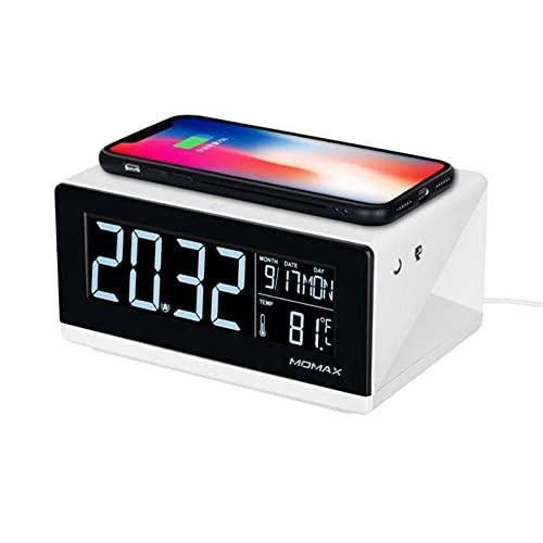 TUIHJA Reloj Despertador EléCtrico LED Reloj con TermóMetro Digital Reloj con Espejo HD con TeléFono Cargador InaláMbrico Interruptor TáCtil de AtenuacióN de 3 Engranajes