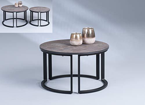 HomeTrends4You Ohio 1 Tavolino da Salotto/Divano, MDF, Marrone/Nero, H=36cm D=60cm