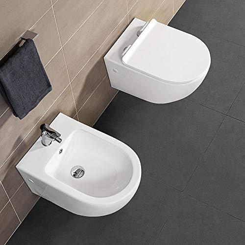 Inbagno Coppia Sanitari Sospesi Rimless, Bianco, Design Moderno, Completo di Copriwater con Chiusura Soft-Close