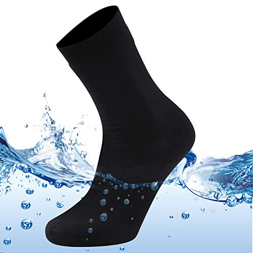 MEIKAN Mens Outdoor Hiking Socks 100% Waterproof Light Dry Ice Fishing Wader Rain Cold Wet Weatther Boot Mid Calf Camping Cycling Socks Men Swimming Wader Ski Socks 1 Pair (Black, X-Large)