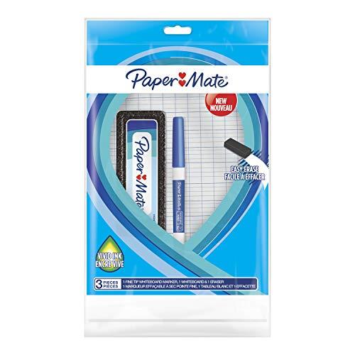 Paper Mate set pennarelli per lavagna con penna cancellabile a secco (punta fine, blu), lavagnetta e cancellino per lavagna