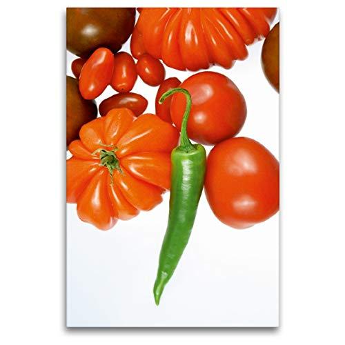 Premium Textil-Leinwand 80 x 120 cm Hoch-Format Tomatensorten mit grüner Chili | Wandbild, HD-Bild auf Keilrahmen, Fertigbild auf hochwertigem Vlies, Leinwanddruck von Gerhard Kraus