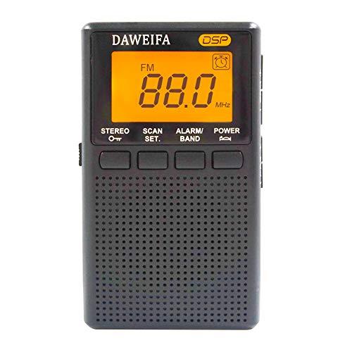 Mini AM FM Radio Portable Speaker with Headphone Jack Alarm Clock Radio Battery-Powered Operated with LCD Display Pocket Radio Speaker Outdoor for Walk-Black