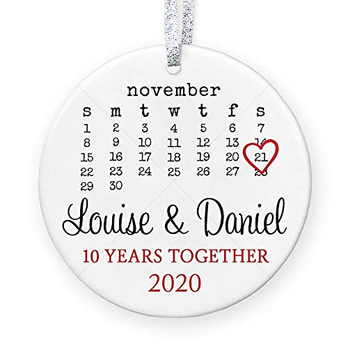 Personalized Anniversary Gift for Her, Anniversary Christmas Ornament for Married Couple with Names Date, 1st 2nd 5th 10th 20th - 3' Flat Circle Porcelain Ornament - Gold & Silver Ribbon | PGM-OR-46