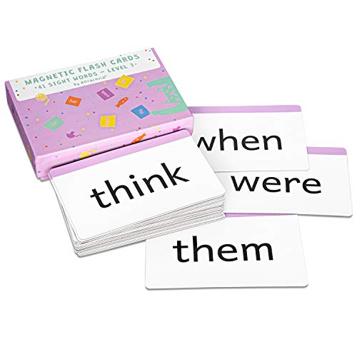 Attractivia Dolch Sight Words Magnetic Flash Cards 1st Grade - 41 Large Cards for Literacy of Beginning Readers and ESL