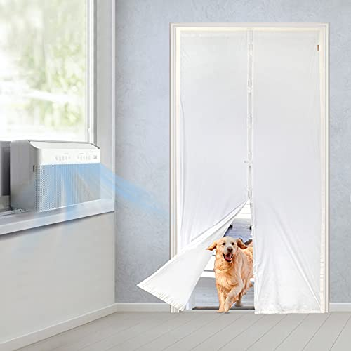 MAGZO Upgrade TPU Thermal Magnetic Door Curtain 48x80, Door Curtain Insulated for AC Heater Room Kitchen Enjoy Cool Summer Warm Winter Privacy Fit Your Door Size Up to 48x80 Inch, White
