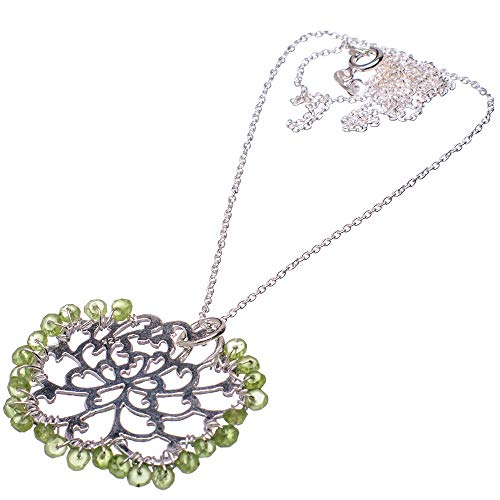 """Ana Silver Co Peridot 925 Sterling Silver Necklace 21"""" - Handmade Jewelry, Bohemian, Vintage NEC11839"""