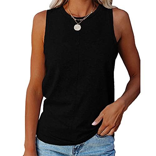Camiseta Sin Mangas Mujer Color Sólido Básico Clásico All-Match Mujer T-Shirt Sin Mangas Moda Verano Casual Suelto Cómodo Cuello Redondo Mujer Tops Mujer Blusa A-Black 5XL