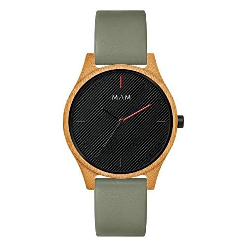Mam relojes areno Herren Uhr analog Japanisches Quarzwerk mit Leder Armband 617