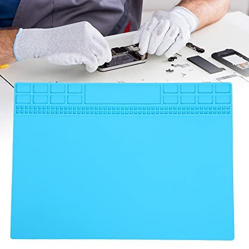 Almohadilla de reparación de calor, alfombrilla de reparación de silicona antiestática para almacenamiento de tornillos magnéticos para soldador(Light blue)