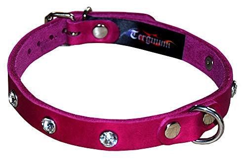 Zartes BDSM Halsband Halsfessel Fessel mit Swarovski Kristallen PINK Leder/SM Fetisch/Handarbeit