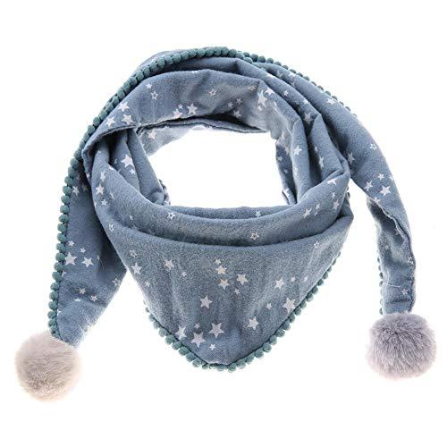 Sciarpa invernale in cotone per bambini, scaldacollo ad anello con scaldacollo Sciarpe con fazzoletto da collo per bambini e bambine(Stella blu)