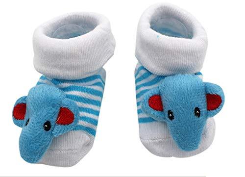 Antislip sokken - kinderen - baby's - 0/12 maanden - fantasie - lichtblauwe olifant - strepen - mannelijk - vrouwelijk - unisex