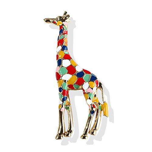 YAZILIND Jirafa Animal Broche Alfiler Esmalte Gota Aceite imitación Perla Alfileres Accesorios Ramillete Party joyería Color
