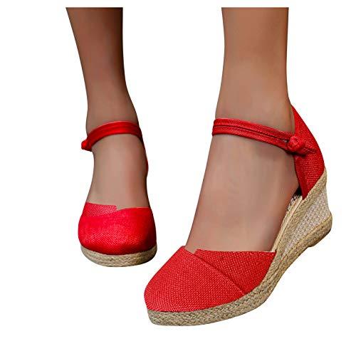 Sandales à Talons Enveloppants Pour Les Pieds Pour Femmes, Sandales Femme Basic Opened Toe Mid, Chaussures Mode Compensées en Caoutchouc pour Femme Espadrilles, Chaussures De Sport Eté
