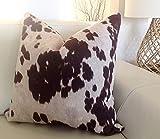ca4588illa - Funda de cojín de piel de vaca con estampado de animales, color marrón